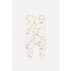 6371 Полукомбинезон/зайчики в цветах на белой лилии