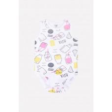 6243 П/комбинезон/розовые бутылочки на белом