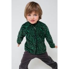 34011/н/46 Куртка/черный, ярко-зеленые волны