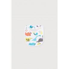 8525 Нагрудник/цветные динозавры на белом