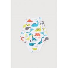 6381 Полукомбинезон/цветные динозавры на белом